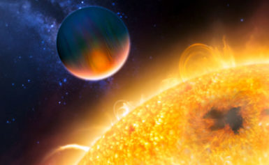 An Eccentric Planet Skims a Giant Star